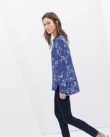 New Fashion Ladies' Elegant floral print blue blouses V neck long sleeve office lady shirts casual slim brand design tops