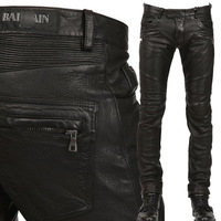 Hot sale new winter men's high quality punk motorcycle leather pants balm*in Slim Straight leather pants washed jeans