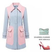 Single breasted mixed color women's cashmere coat 2014 NEW woolen coat woman jacket winter overcoat Woollen coat long outwear