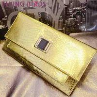 FLYING BIRDS! free shipping golden women clutch pu leather  Women shoulder messenger bags evening elegant good quality  LS3754c