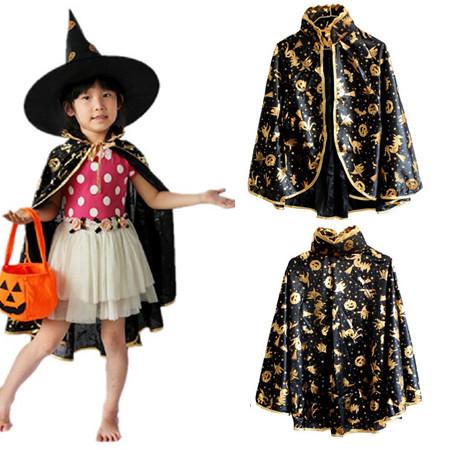 Halloween costume children pumpkin cloak party show performance princess boys girls long cloak free size adult(China (Mainland))