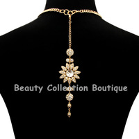 Classic Backdrop Pearl and Crystal Flower Pave Fring Bridal Wedding Necklace 5 Pcs/Lot  CYN07