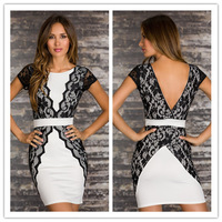 New 2014 Fashion Women Sexy Lace Splicing Patchwork Short Sleeve Backless Bodycon Dress Casual Office Work Wear Free Shipping