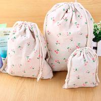 Floral drawstring pouch small sacks / jewelry storage consolidation bag / change cotton bag / debris bag/Storage Bags