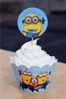 120pcs Despicable ME Minions cupcake WRAPS and PICKS decoration kids birthday party favors supplies