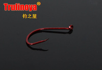 fishing hook  Tube pay hook Red color  silvery white iron hook