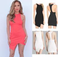 2014 New Fashion Women Summer Sleevelesso  Irregular Bodycon Dresses Lady Bandage Casual Dress Party Girl  y137