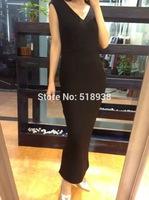 New 2014 autumn winter luxury elegant sexy women black mid-calf wool dress brief sleeveless slit sheath brand pencil dresses