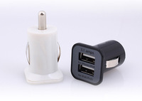 5V 3.1A USAMS Dual-Port Mini Universal Dual USB Car Charger Adapter Bullet, 5V 2.1A + 1A, Black White Free shipping