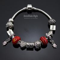 Family Love 925 Silver Dangle Clover Charms Pulseiras European Murano Glass Beads Bracelet+Gift Pouch PBS104