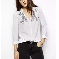 New Fashion Ladies' elegant white tiger print blouses turn down collar long sleeve Shirt casual slim brand designer tops