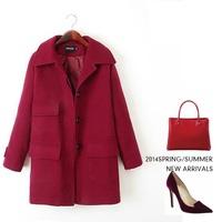 Big pocket wide waisted loose women's cashmere coat 2014 NEW woolen coat woman jacket winter overcoat Woolen coat long outwear