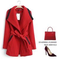 Solid belt splicing large lapel women's cashmere coat 2014 NEW woolen coat woman jacket winter overcoat Woolen coat long outwear