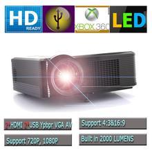 Hot! UK LED-33+ 1080P Full HDMI LED Projector Home Theater Multimedia Contrast Ratio 1000:1 2000 lumens AV/VGA/2*HDMI/USB(China (Mainland))