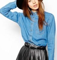 New Fashion Ladies' elegant classic blue denim blouse long sleeve turn-down collar Shirts casual slim brand designer tops