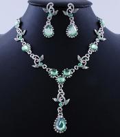 Green Water Drop Acrylic Stone Tassel Choker Statement Wedding Party Costume Necklace Earring Set
