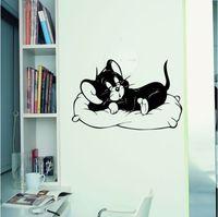 Cute Sleeping Cat Wall stickers for kids room  home Decor Nursery Vinyl Decal wall mural art wallpaper