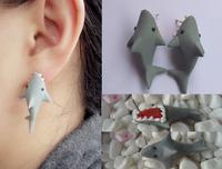 beautiful Shark Bite You Cute Earring (Color Gray)