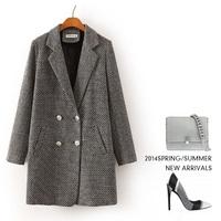 Houndstooth mixed color women's cashmere coat 2014 NEW woolen coat woman jacket winter overcoat Woolen coat long outwear suit