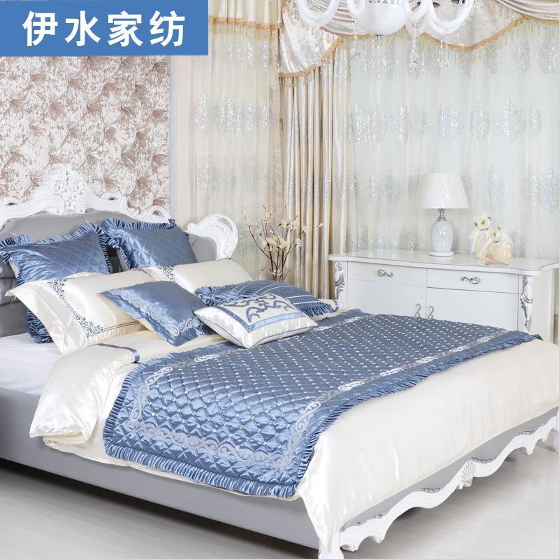 Moda algodão 100% algodão da cama cama conjunto pedaço de luxo múltiplas azul capa de edredão set lençóis(China (Mainland))