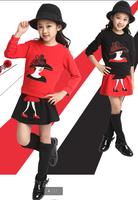 2014 children's spring and autumn clothing female child autumn big boy child sweatshirt dress set 100% cotton twinset