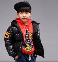 Retail 2014 New Fashion Children Autumn Winter Warm Coat Children Thick Cotton Hooded Outerwear Jackets For Boy Hot sale AB308