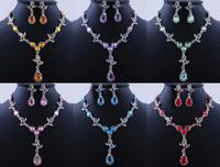 Wholesale 12 Sets Water Drop Acrylic StoneTassel Choker Wedding Party Costume Woman Necklace Earring Set