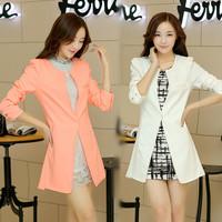 2014 autumn new women's solid OL long blazers suit fashion slim blazer for women desigual brand ladies' o-neck blazers feminino