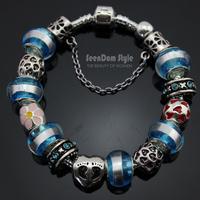 925 Silver Enamel Heart Flowers Charms Pulseiras European Murano Glass Beads CZ Stone XOXO Bracelet+Gift Pouch PBS105
