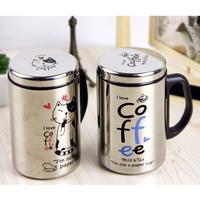 High Quality light gray Colour Korean cartoon coffee  stainless steel cup / Mug Random pattern