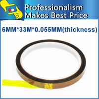2pcs/lot 6mm x 33m x 0.055mm  High Temperature Resistant tape Heat BGA dedicated Tape for BGA PCB SMT Soldering Shielding tape