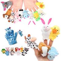 15pcs/lot Cartoon Animal Finger Puppet Finger Plush Toy Baby Dolls Kids Children Toys Animal Doll Play Learn Story Toy