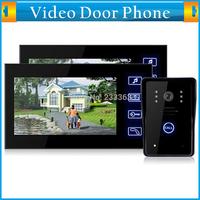 "7"" Color Video Door Phone Hands Free Intercom Doorbell Video Record Night Vision Touch Key SD Card Rainproof 1 Camera 2 Monitor"