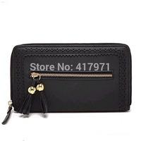 Women's Fashion Black Long Hollow Wallet