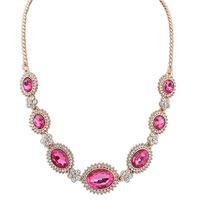 2014 Newest Design Luxury Full Crystal Big Gem Choker Necklace Elegant Shiny Gem Charms Fashion Hot Sale Women Jewelry