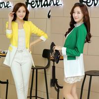 2014 autumn new women's patchwork long blazers suit fashion slim blazer for women desigual brand ladies' o-neck blazers feminino