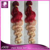 Peruvian virgin hair pad ombre red/613 human hair extension,100%  Brazilian body wave two tone cabelo humano virgin hair weave
