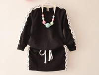 2014 Autumn Kid's Korean Style Lace Fashion Set Round Neck T-shirt And Straight Skirt 2 Pieces Set