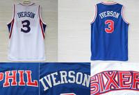 Free Shipping S-XXL Philadelphia #3 Allen Iverson Jerseys, Allen Iverson 10 Year Anniversary Throwback Jersey White and Blue