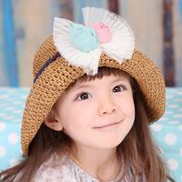 Children hat Girl fashion headwear Children's  baby hats girls spring and summer bog lace bow straw hat princess hats  ETJ-A0172