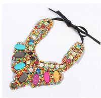 cxt904008  Lace Beads Chains Chokers Necklaces Collar Statement Necklace Vintage Bohemian National Pendants