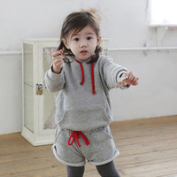 Kids Girls 2PCS Set Gray Sports Hooded Sweater+Short Pants Outfits Costume 1-5Y