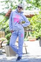 2014 sport suit women 3d pink bear printed sweatshirt+pants clothing set tracksuit gray sports costumesfemale sportswear