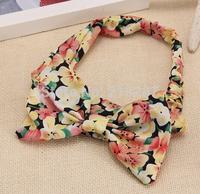 Free Shipping!2014 New 15pcs/lot Fashion Women Big Bowknot Print Headbands Cute Hair Bands Hair Ornament Accessories