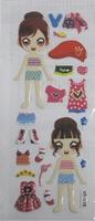 child paper toysgirl change cloth  paper sticker SPONGE FROZEN STICKERS/kids toys/DIY Adhesive paper game 7*17cm