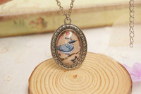 New Design Vintage Antique Silver Plated Glass Charms Bird Pendant Necklace