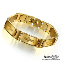 September New Fashion Men's Punk Jewelry Strand Bracelets 18K Gold Plated Stainless Steel Bracelet Chain (Silveren BA1127)