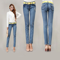 Free Shipping! New Arrival Spring and autumn elastic slim denim pencil long design women jeans 6601
