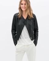 2014 New UK Large Plus size Autumn Winter Vintage Crop Biker Motorcycle PU Faux Custom Zipper Black Women Leather Jackets Coat