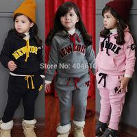 clothing set girls spring & autumn print new york  sweatshirt hoodies  top + harem trousers 2pieces sports sets  ETJ-T0315